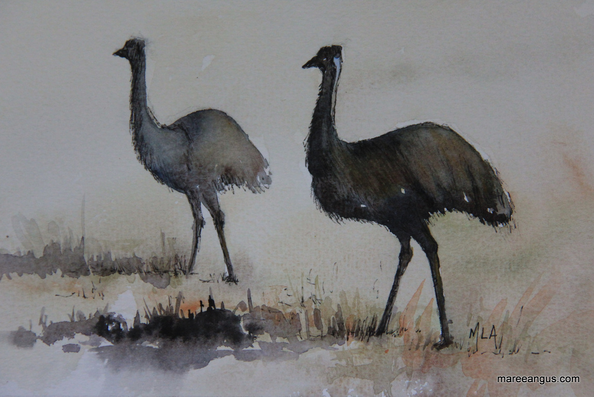 Dad and Chick - 15cm x 23cm, Watercolour - SOLD