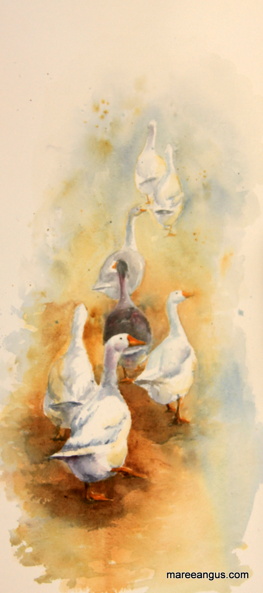 Keeping Ahead of the Shepherdess - 78cm x 34cm, Watercolour - $1125