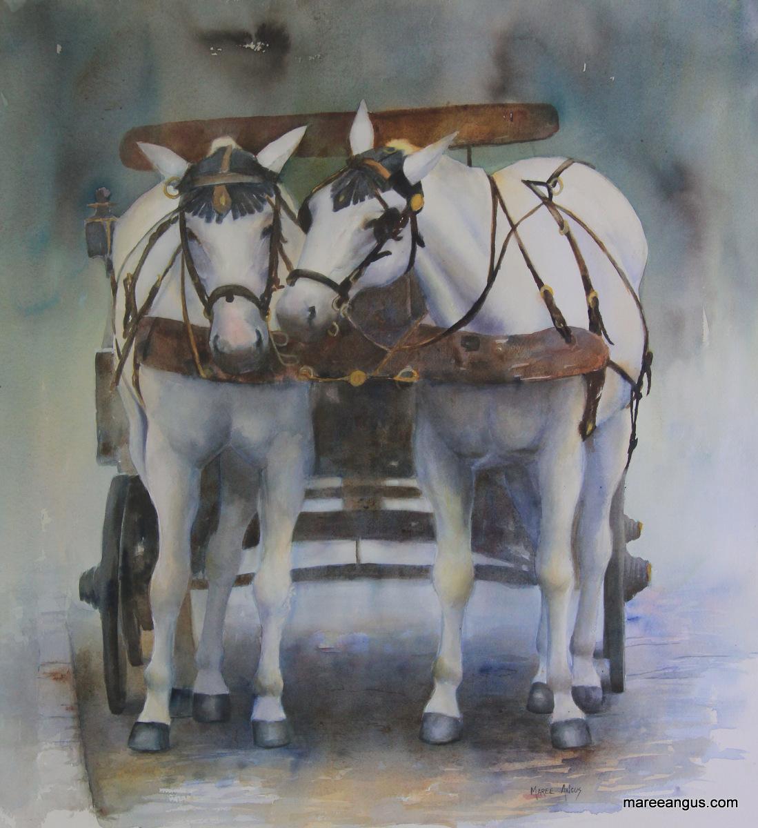 Oats for Dinner Tonight! - 58cm x 53cm, Watercolour - $1750