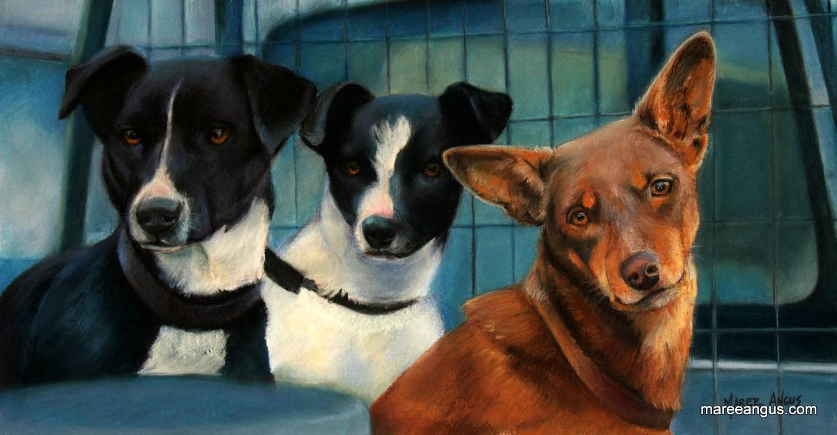 Working Trio - 26cm x 51cm, Pastel - Commission