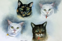Gurujivan's Cats - 27cm x 37cm, Watercolour - Commission