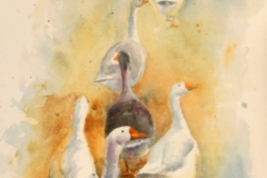 Keeping Ahead of the Shepherdess - 78cm x 34cm, Watercolour - $1125
