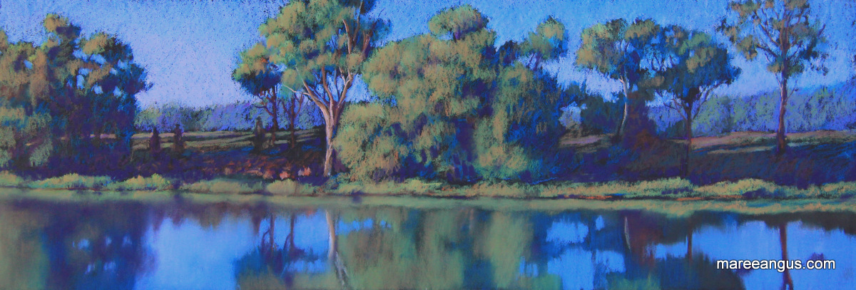 Early Morning Muster - 22cm x 61cm, Pastel - $670 (framed)