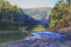 Seaside Waterhole - 45cm x 65cm, Pastel - SOLD