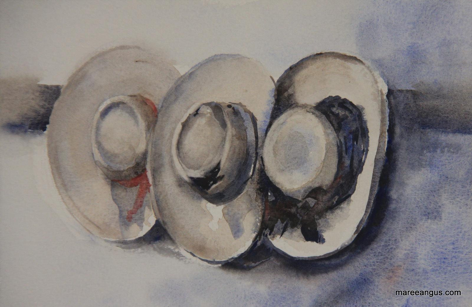 Hat Trio 16cm x 23cm Watercolour