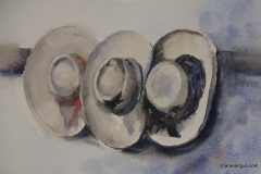 Hat Trio 16cm x 23cm Watercolour